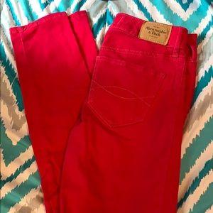 Pink Abercrombie skinny jeans